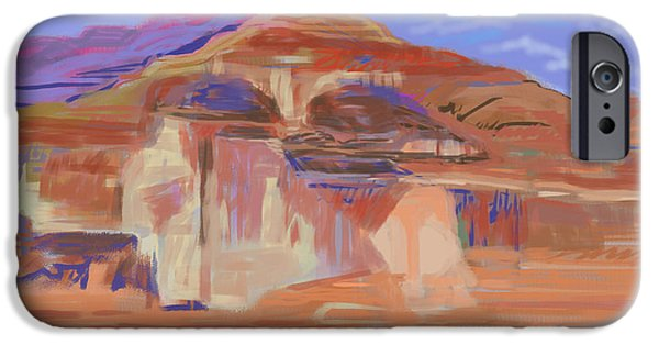 Cliffs iPhone Cases - Painted Cliffs, Lake Powell Computer Art iPhone Case by Howard Ganz