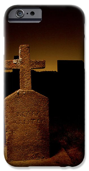 Head Stone iPhone Cases - Painted Cross in Graveyard iPhone Case by Jean Noren