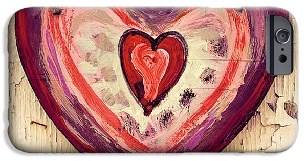 Painted Wood iPhone Cases - Painted Heart iPhone Case by Jill Battaglia