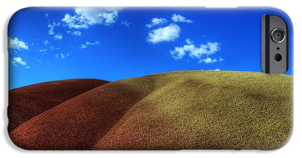 Canadian Photographer iPhone Cases - Painted Hills Blue Sky 1 iPhone Case by Bob Christopher