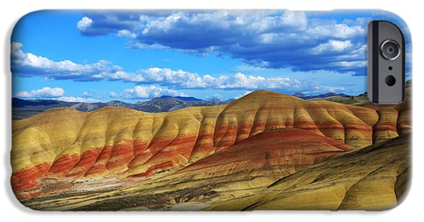 Canadian Photographer iPhone Cases - Painted Hills Blue Sky 3 iPhone Case by Bob Christopher