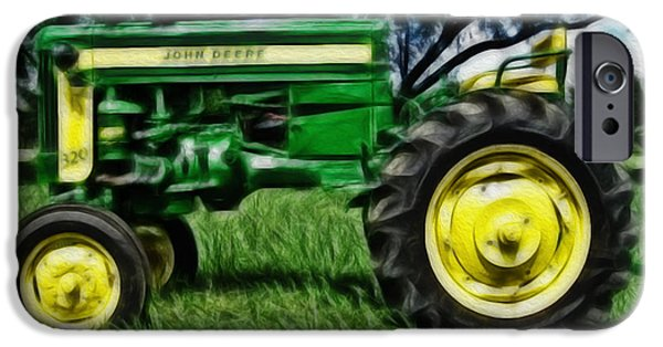 Work Tool iPhone Cases - Painted John Deere iPhone Case by Cheryl Young