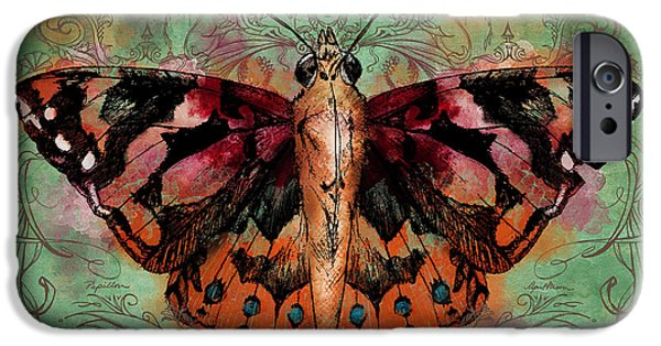 Moth iPhone Cases - Painted Lady iPhone Case by April Moen