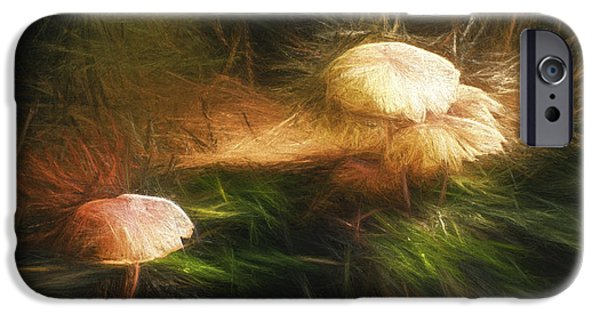 Mushroom Digital Art iPhone Cases - Painted Magic Mushrooms iPhone Case by Scott Norris