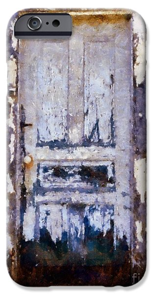 Rural Decay Digital Art iPhone Cases - Painted past - old house door iPhone Case by Janine Riley