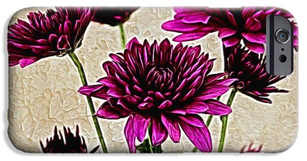Floral Digital Art Digital Art iPhone Cases - Painted Pink Bouquet iPhone Case by Judy Vincent