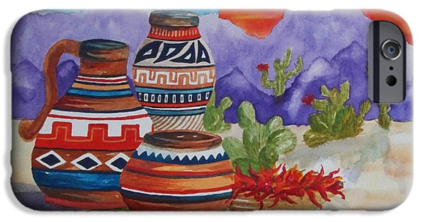 Terra Paintings iPhone Cases - Painted Pots and Chili Peppers iPhone Case by Ellen Levinson