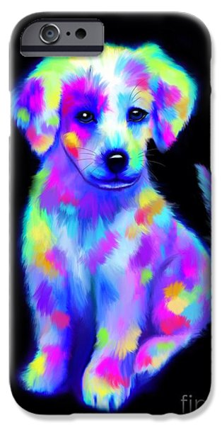 Puppy Digital Art iPhone Cases - Painted Pup 2 iPhone Case by Nick Gustafson