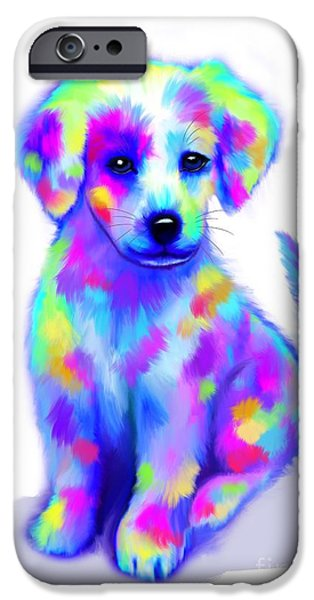 Puppy Digital Art iPhone Cases - Painted Pup iPhone Case by Nick Gustafson