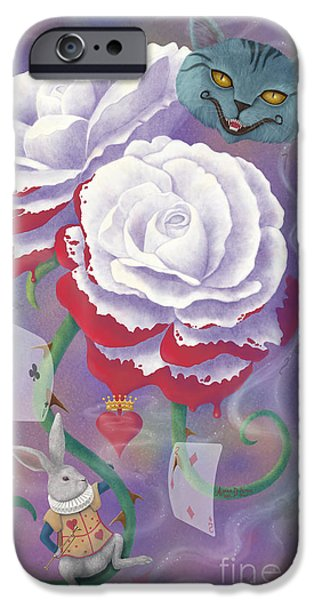 Surrealism Digital iPhone Cases - Painted Roses for Wonderlands Heartless Queen iPhone Case by Audra D Lemke
