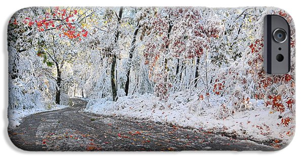 New England Snow Scene iPhone Cases - Painted Snow iPhone Case by Catherine Reusch  Daley