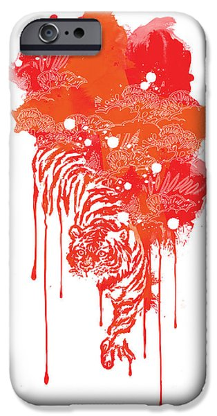 Life Digital Art iPhone Cases - Painted tiger iPhone Case by Budi Kwan