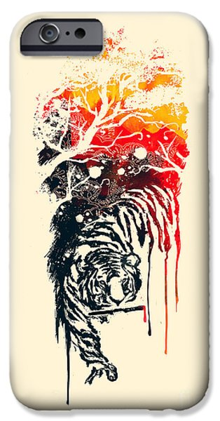 Budi Satria Kwan iPhone Cases - Painted Tyger iPhone Case by Budi Kwan