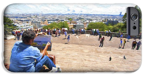 Painter Photographs iPhone Cases - Painter at Montmartre in Paris iPhone Case by Sheila Smart