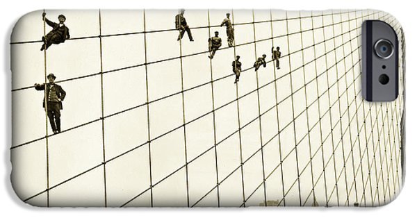 Painter Photo Photographs iPhone Cases - Painters on the Brooklyn Bridge 1914 iPhone Case by Mountain Dreams
