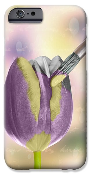 Caligraphy iPhone Cases - Painting A Tulip iPhone Case by Amanda And Christopher Elwell