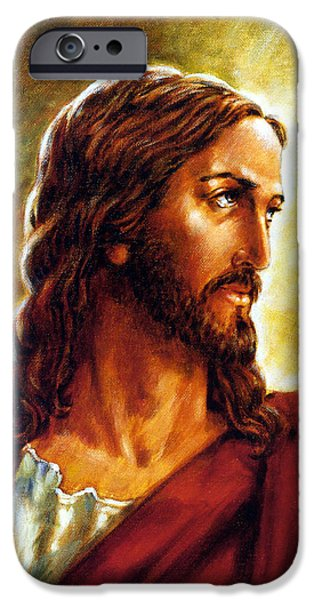 Painting of Christ iPhone Case by John Lautermilch