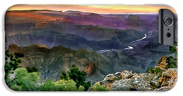 River View iPhone Cases - Painting of Desert View Grand Canyon iPhone Case by  Dr Bob Johnston