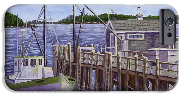 Water Vessels Paintings iPhone Cases - Fishing Boat Docked In Boothbay Harbor Maine iPhone Case by Keith Webber Jr
