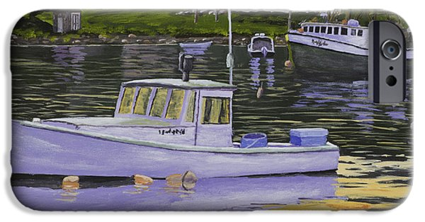Water Vessels Paintings iPhone Cases - Fishing Boats in Port Clyde Maine iPhone Case by Keith Webber Jr