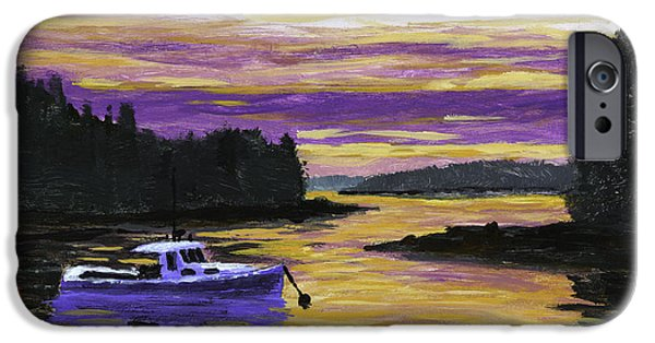 Maine Landscapes Paintings iPhone Cases - Lobster Boat In Port Clyde Maine at Sunset iPhone Case by Keith Webber Jr