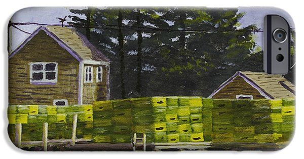 Maine Seascapes iPhone Cases - Lobster Traps in Port Clyde Maine iPhone Case by Keith Webber Jr