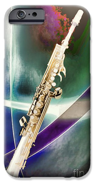 Soprano iPhone Cases - Painting of Music Soprano Saxophone in Color 3340.02 iPhone Case by M K  Miller