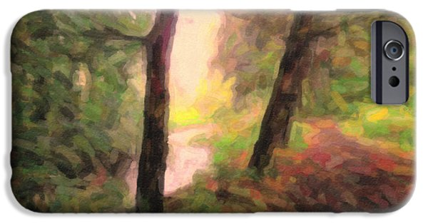 Walking Beat iPhone Cases - Landscape Painting of Path into Woods iPhone Case by Maggie Vlazny