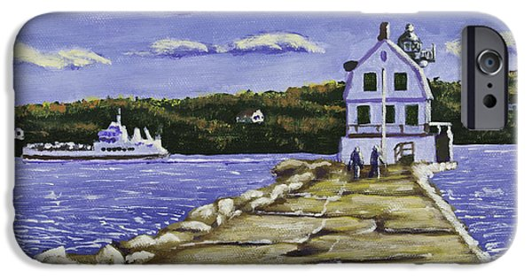 Maine Landscapes Paintings iPhone Cases - Rockland Breakwater Lighthouse in Maine iPhone Case by Keith Webber Jr