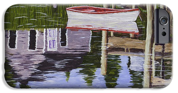 Small iPhone Cases - Small Boat And Water Reflections in Maine iPhone Case by Keith Webber Jr