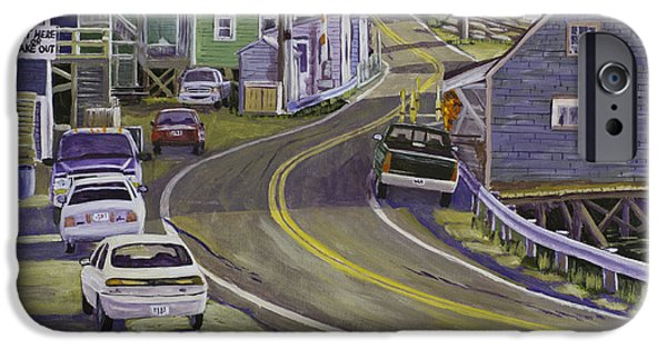 Maine Landscapes Paintings iPhone Cases - Main Street South Bristol Maine iPhone Case by Keith Webber Jr