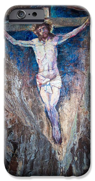 Crucifixtion iPhone Cases - Painting of the Crucifixion iPhone Case by Roy Pedersen
