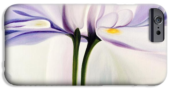 Nature Study Paintings iPhone Cases - Painting of white flower iPhone Case by Gurgen Bakhshetsyan