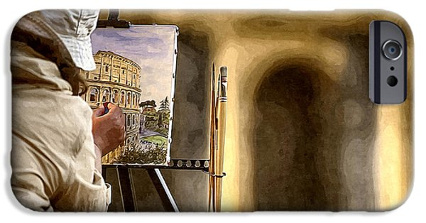 Built Structure Digital Art iPhone Cases - Painting the Colosseum iPhone Case by Stefano Senise