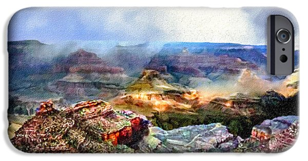 Grand Canyon Mixed Media iPhone Cases - Painting The Grand Canyon iPhone Case by  Bob and Nadine Johnston