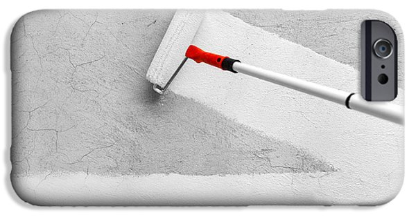 Work Tool iPhone Cases - Painting With White Paint iPhone Case by Ognian Medarov