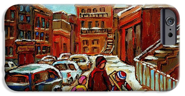 Baron Byng High School iPhone Cases - Paintings Of Baron Byng High School St Urbain A Winter Walk Down Memory Lane Montreal Art Carole  iPhone Case by Carole Spandau