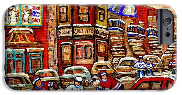 Hockey Paintings iPhone Cases - Paintings Of Fairmount Bagel Street Hockey Game Near Chez Vito Montreal Art Winter City Cspandau iPhone Case by Carole Spandau