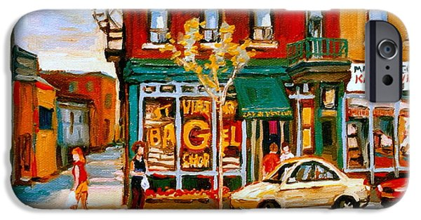 Montreal Bagels iPhone Cases - Paintings Of  Famous Montreal Places St. Viateur Bagel City Scene iPhone Case by Carole Spandau