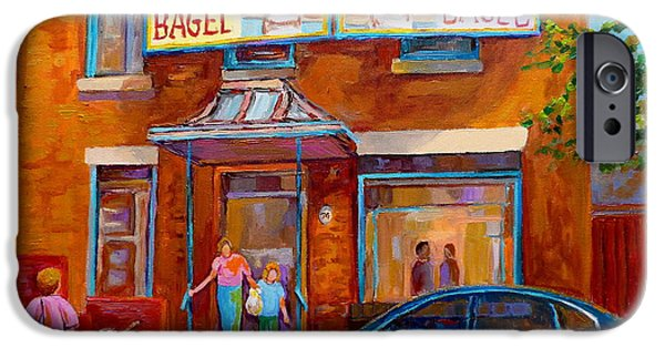 Montreal Bagels iPhone Cases - Paintings Of Montreal Fairmount Bagel Shop iPhone Case by Carole Spandau