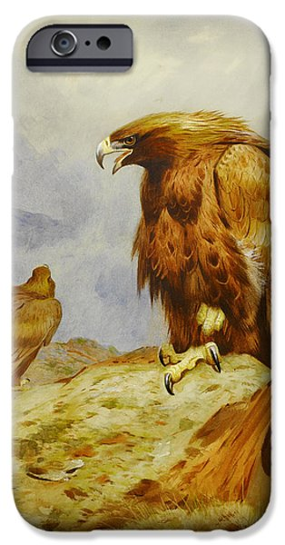Drawing Of Eagle iPhone Cases - Pair of Golden Eagles iPhone Case by Celestial Images