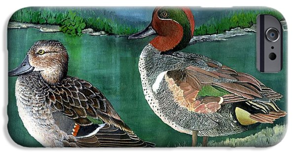 Etc. Paintings iPhone Cases - Pair of Green-winged teals iPhone Case by Marsha Friedman