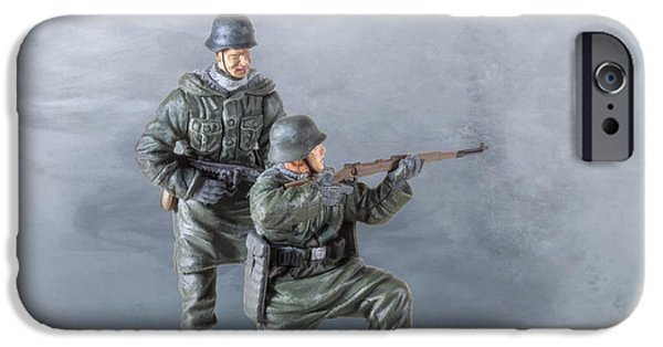 Army Men iPhone Cases - Pair of Panzer Grenadiers iPhone Case by Randy Steele