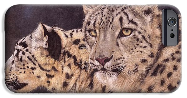 Snow iPhone Cases - Pair of Snow Leopards iPhone Case by David Stribbling