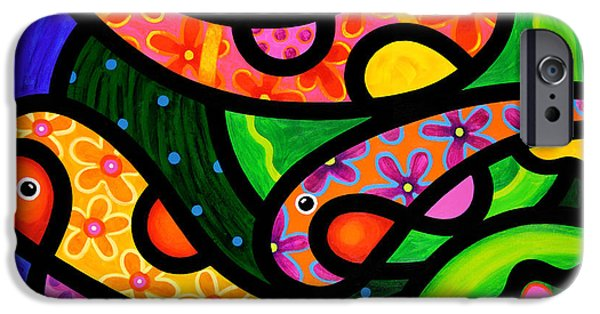 Koi Paintings iPhone Cases - Paisley Pond - Horizontal iPhone Case by Steven Scott