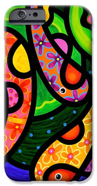 Koi Paintings iPhone Cases - Paisley Pond - Vertical iPhone Case by Steven Scott