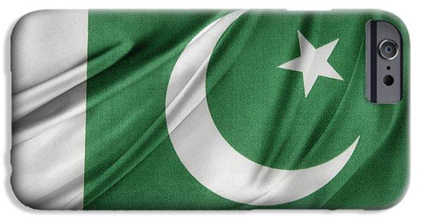 Textile Photographs iPhone Cases - Pakistan flag  iPhone Case by Les Cunliffe
