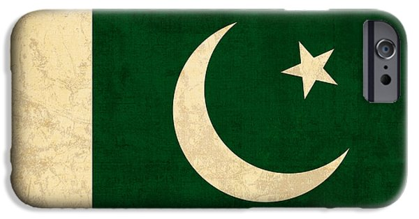 Pakistan iPhone Cases - Pakistan Flag Vintage Distressed Finish iPhone Case by Design Turnpike