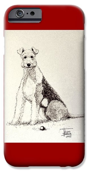 Dog With Ball Print iPhone Cases - Pal the Airedale iPhone Case by Art By - Ti   Tolpo Bader