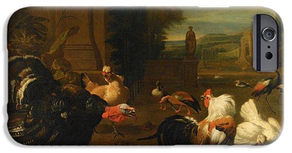 Garden Scene Digital iPhone Cases - Palace Garden Exotic Birds and Farmyard Fowl iPhone Case by Melchior de Hondecoeter